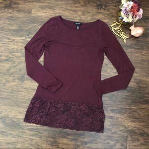 White House Black Market Burgundy Lace Tunic M